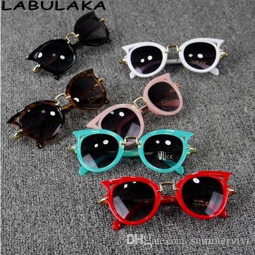 Baby Kids Sunglasses Girls Brand Cat ear Children Glasses Boys UV400 Lens Cute Eyewear Infant Shades Goggles kids beach protection T4781