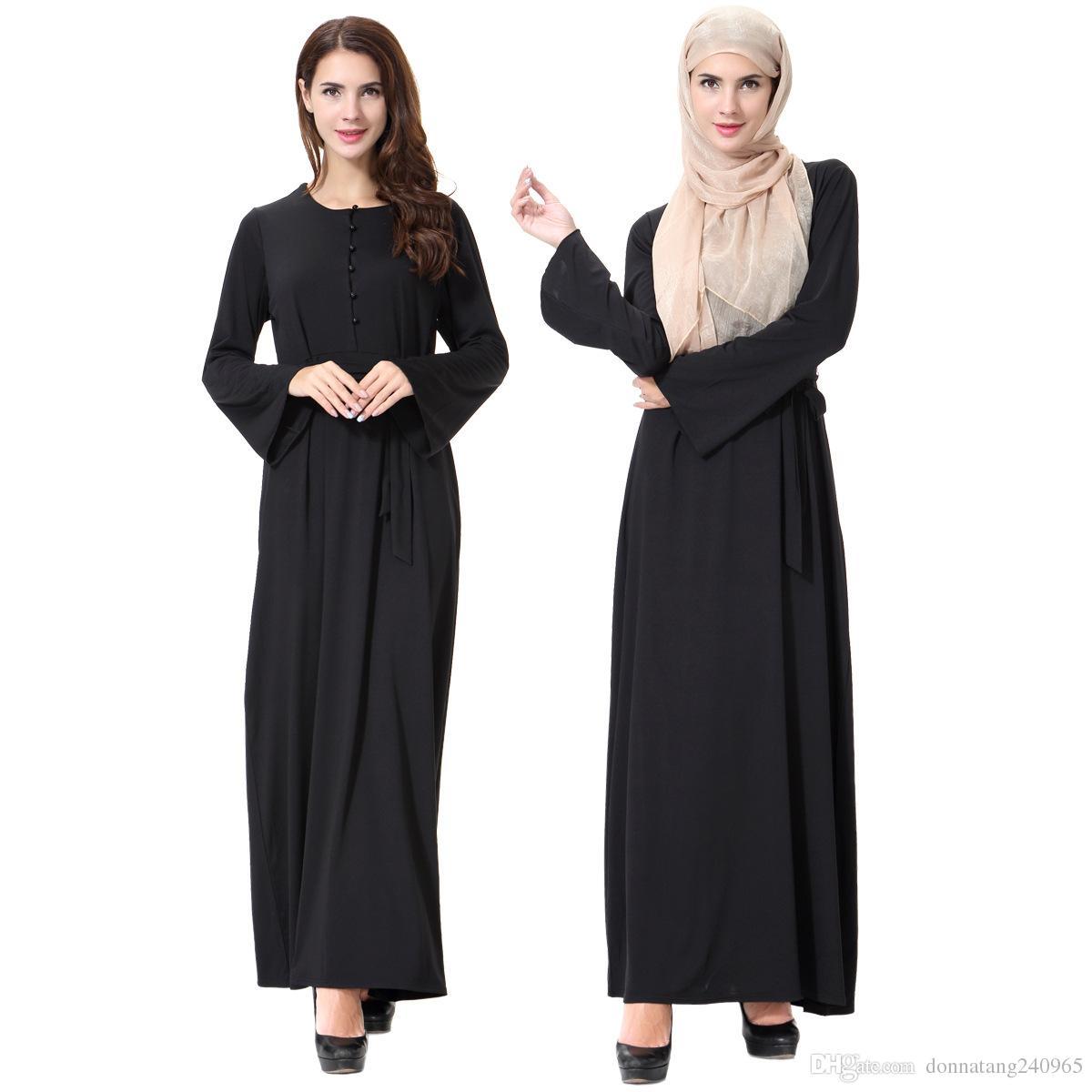 Le donne musulmane maniche lunghe Dubai Maxi abito abaya jalabiya donne islamiche vestono veste abiti caftano moda legato vestito marocchino