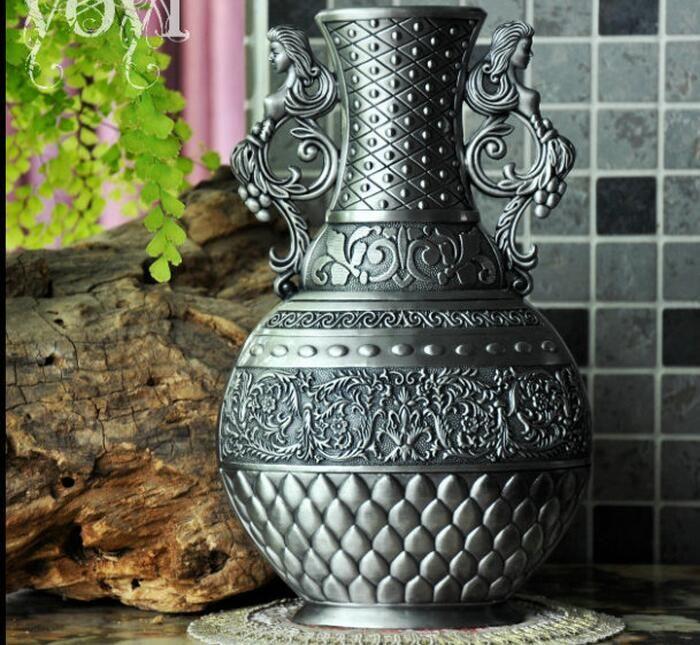 Klasyczna metalowa retro dekoracyjna butelka waza stołowa wazon wazon dla wazonów kwiatowych dla domów