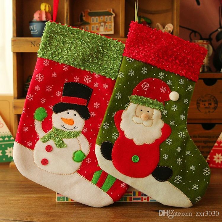 Making Christmas Stocking.Christmas Stockings De Natal Hand Making Crafts Children Candy Gift Bag Santa Bag Elk Santa Claus Snowman Christmas Decoration Deals Christmas