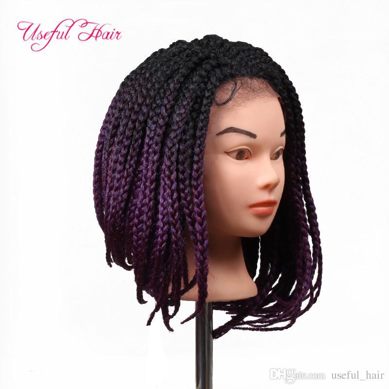 Wigs for Black Women Ombre Purple crochet 3s BOX Braiding Short Bob Synthetic Lace Front Wig Natural Black/Purple Heat Resistant