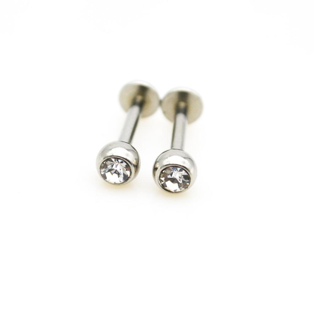 Labret Ring 16G Lip Rings Pendientes Stud Crystal Clear Gem Cartílago Tragus Bars Piercing Gauges Joyería del cuerpo Internally Threade