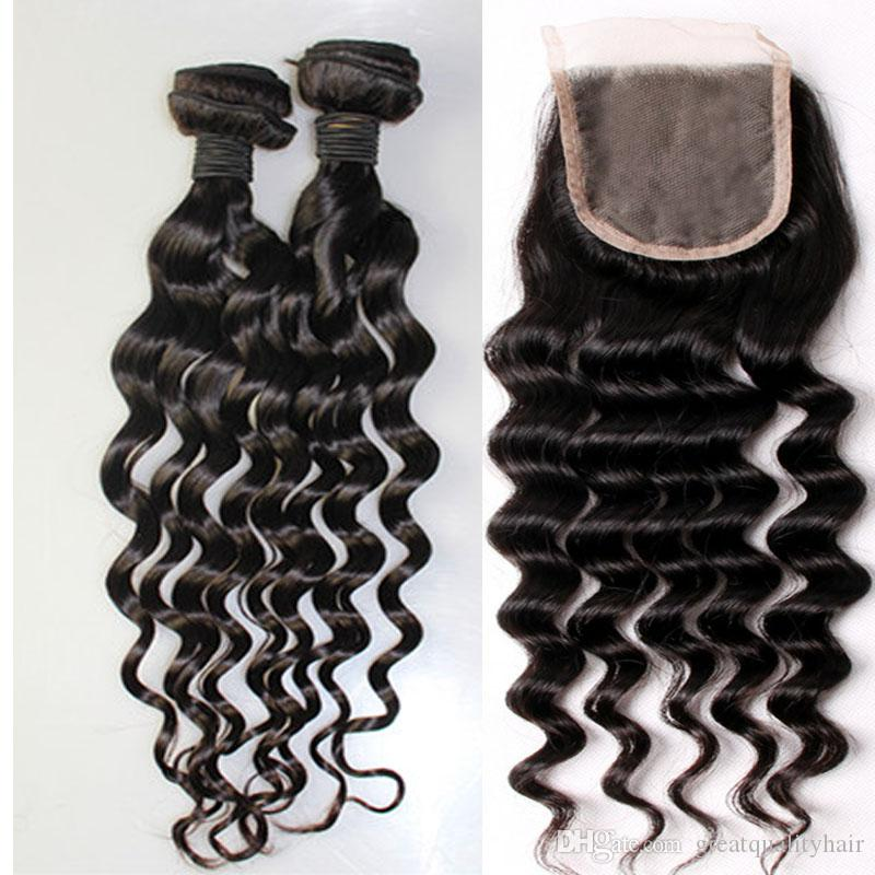 Hot Sale Brazilian Hair Cheap Unprocessed 8A Peruvian Brazilian Indian Malaysian Hair Extension Hair Loose Curly With Closure Free Shipping