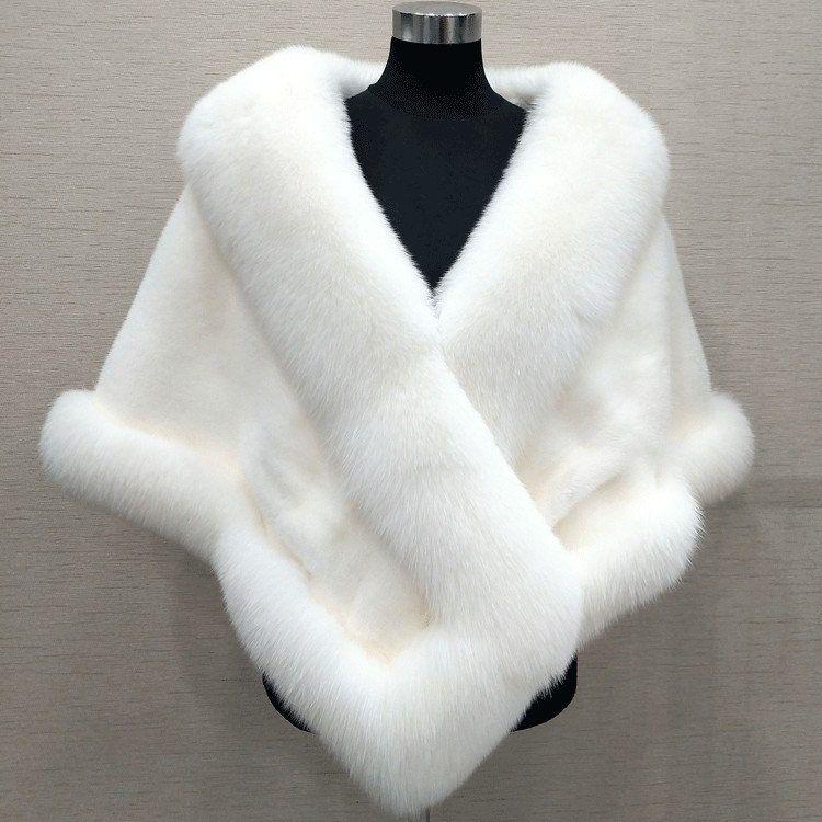 10 colores pedidos mixtos otoño invierno 2019 más nuevo largo zorro piel sintética nupcial Wraps vestido de noche chal manto bufanda fiesta femenina cóctel