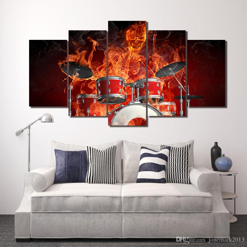 BURNING SKULL ON FIRE ABSTRACT CANVAS PRINT WALL ART PICTURE READY TO HANG