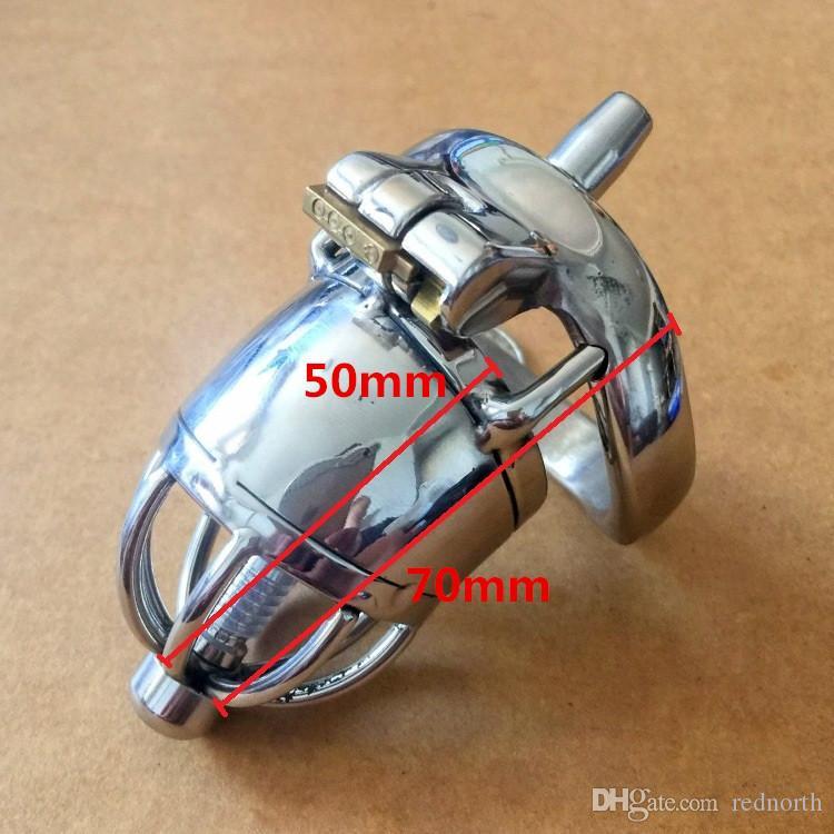 """Il più nuovo design Lunghezza totale 70mm in acciaio inossidabile Piccolo dispositivo di castità maschile con catetere 2.75 """"Gabbia corta per il BDSM"""