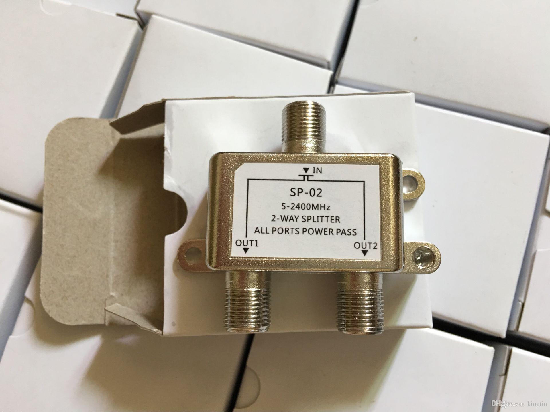 200 adetgrup Virgin Medya Splitter Kutusu Mikro 2 Yollu Coax 'F' Konnektörü Kadın Dijital TV Uydu Gökyüzü Kablosu