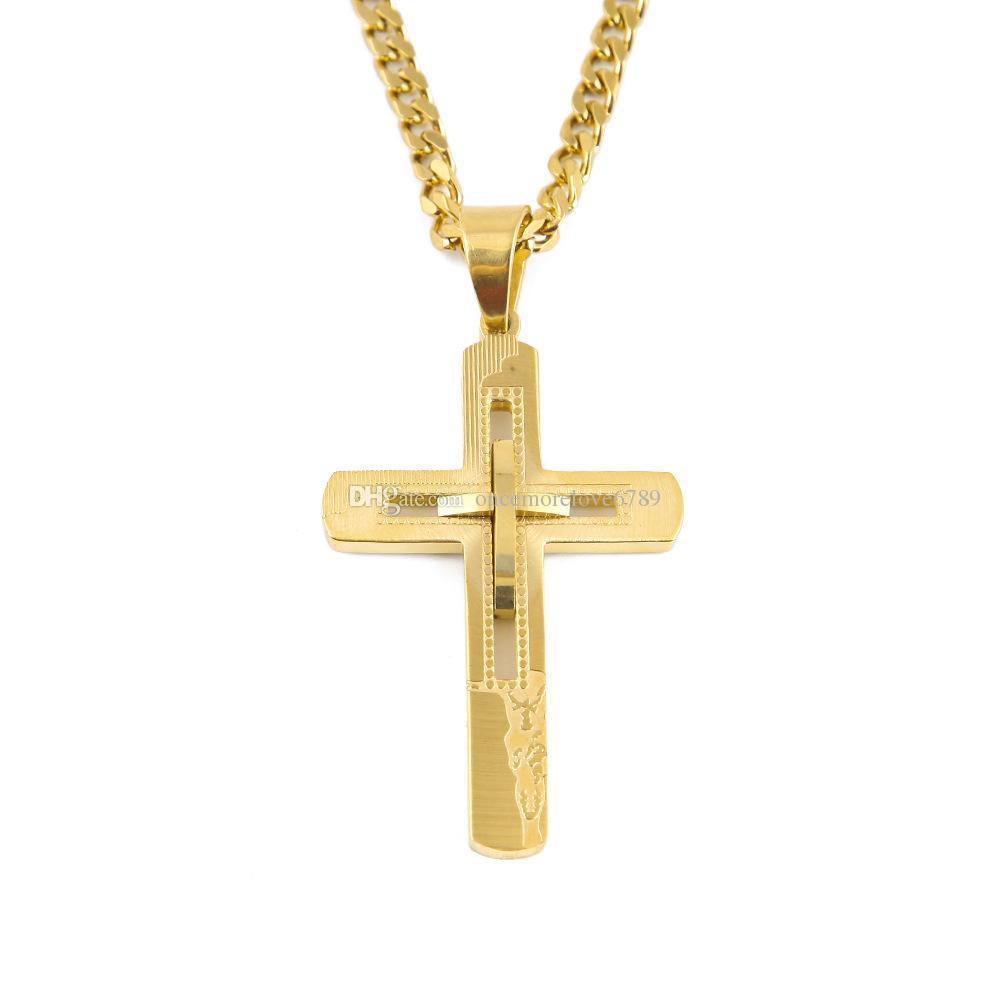 جديد الرجال ستانلس ستيل تجويفه معبر قلادة قلادة مجوهرات مطلية بالذهب قلادة قلادة للهدايا