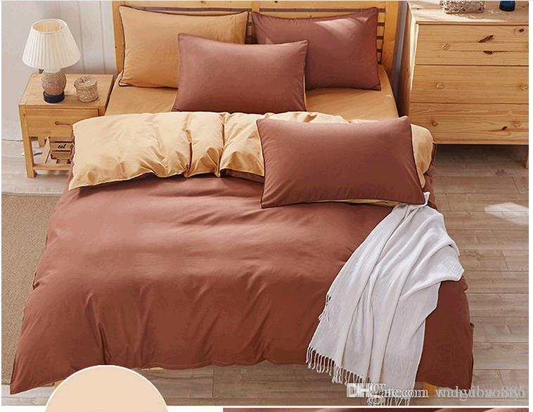 1M Bed Pas cher et confortable pratique couleur pure double literie trois pièces dortoir personnel dortoir trois pièces costume