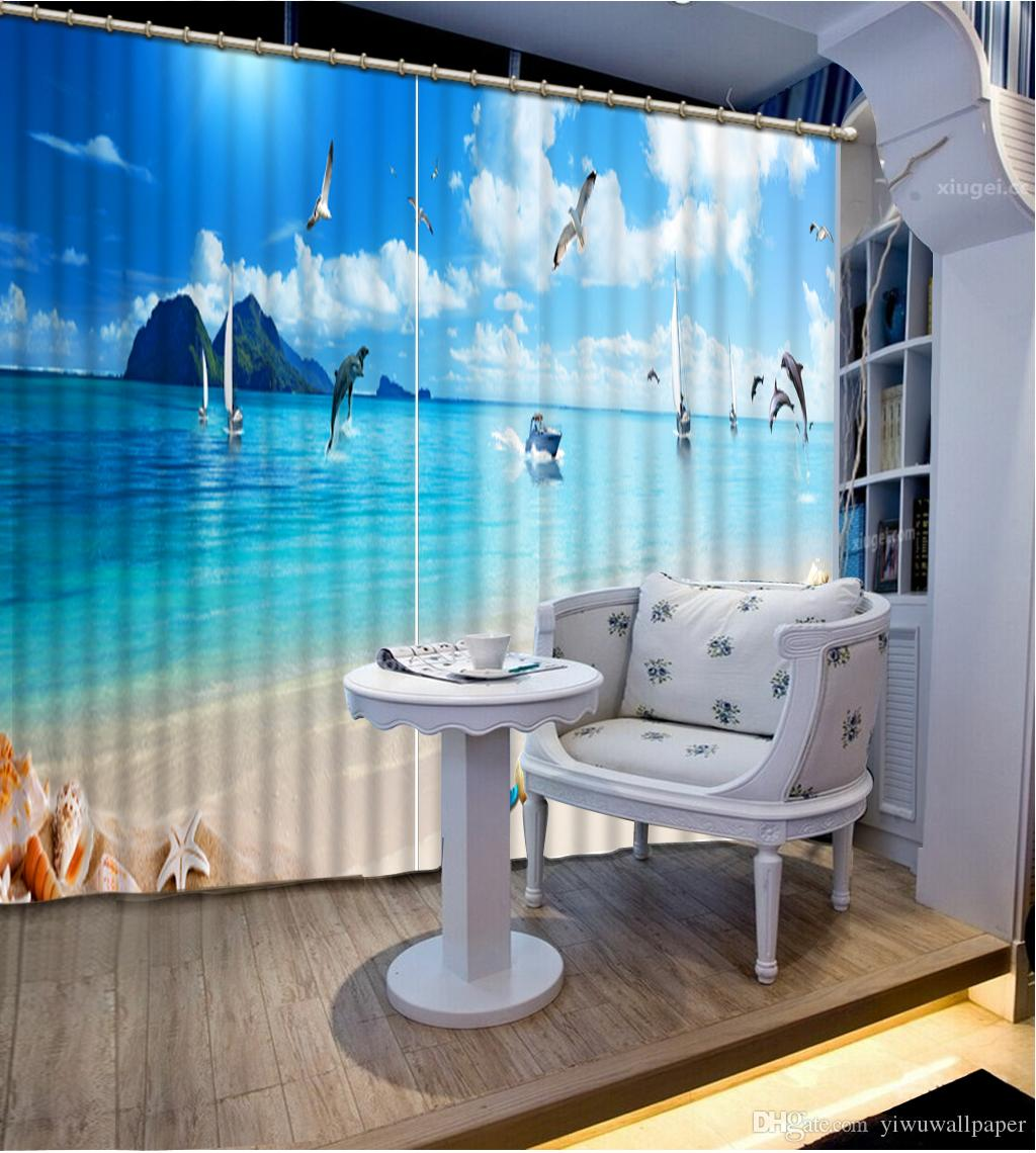 Haute qualité personnaliser taille rideaux modernes pour salon ciel bleu personnalisé rideau
