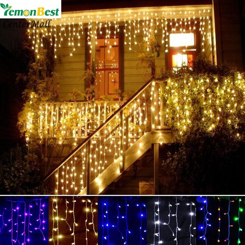 LemonBest Decoração de Natal ao ar livre Indoor Droop 0.3-0.5m Cortina sincelo Led Luzes Cordas Ano Novo Partido Garden 110 220V