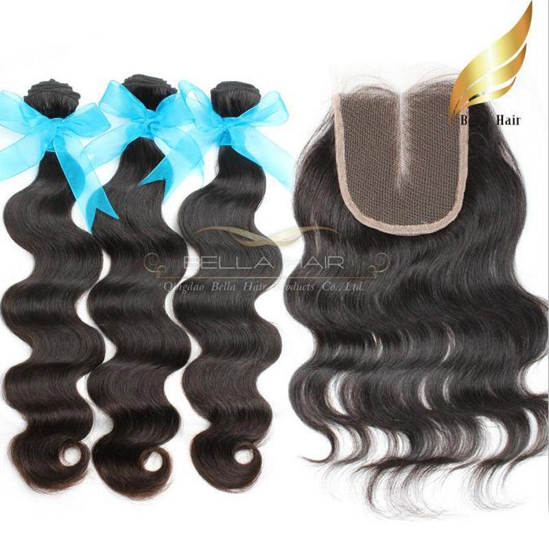 Indian Ciało Fala Włosy z Colsure Virgin Human Hair Hair Bliski Część Koronki Zamknięcie klasa 8A Weft Weft Natural Color 8-30 cal Bella