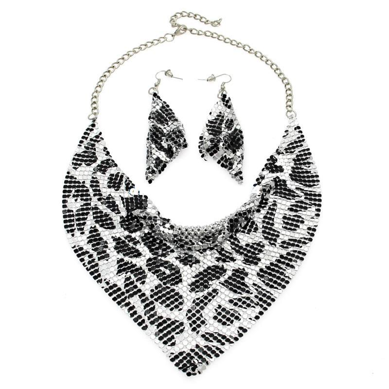 dhgate Jewelry Set Chic Style Shining Metal Slice Bib Choker Necklaces Earring Party / Wedding Fashion Jewelry Sets 2017