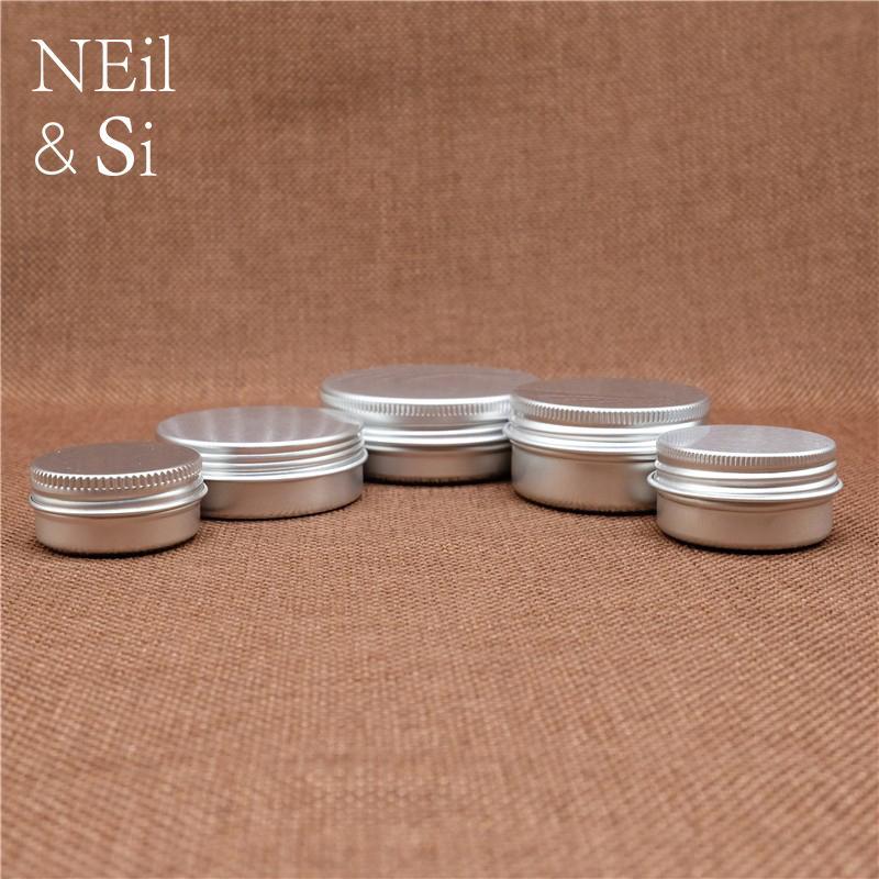Aluminiumgefäß leere kosmetische Lotion Sahne Silber Container Nachfüllbar Lippenöl Batom Reise Set Tins Flaschen 5 ~ 50g