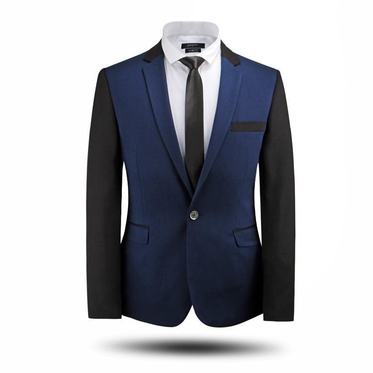 Wholesale- New Classic Männer Anzüge Qualitäts-Slim Fit Business-Mann-Klagen Ein Buttons Smoking Herren Anzug Hochzeitsanzüge Blau