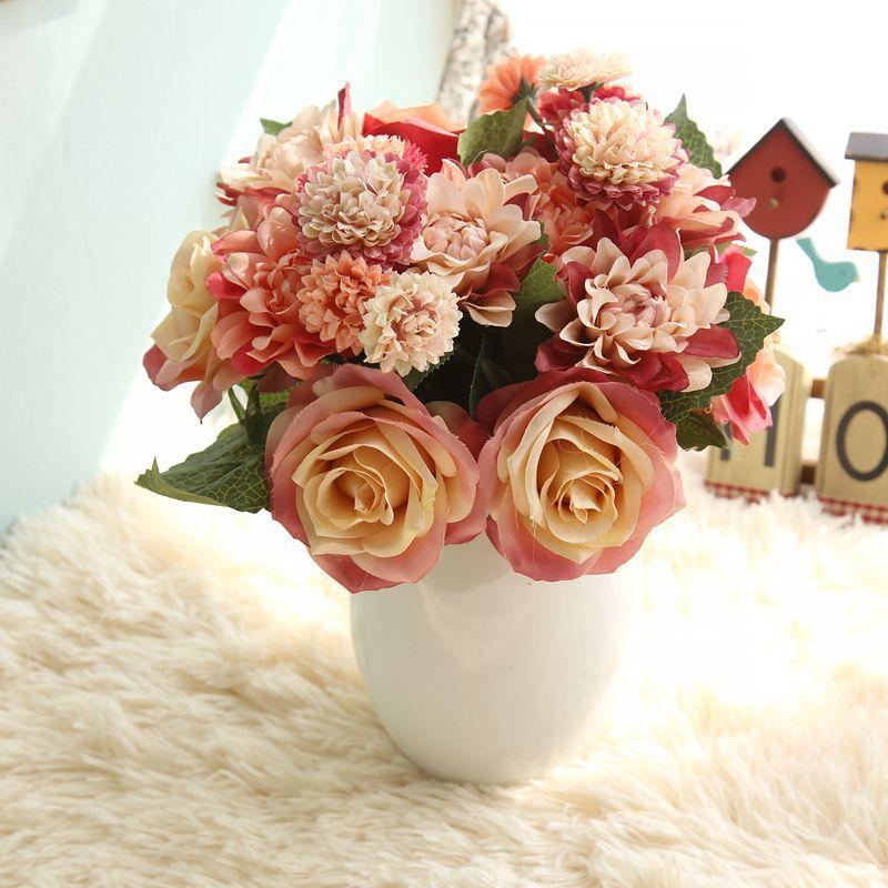 Шелковый цветок свадебный букет розы георгины искусственные цветы осень яркие поддельные листья свадебные цветы букеты для украшения дома