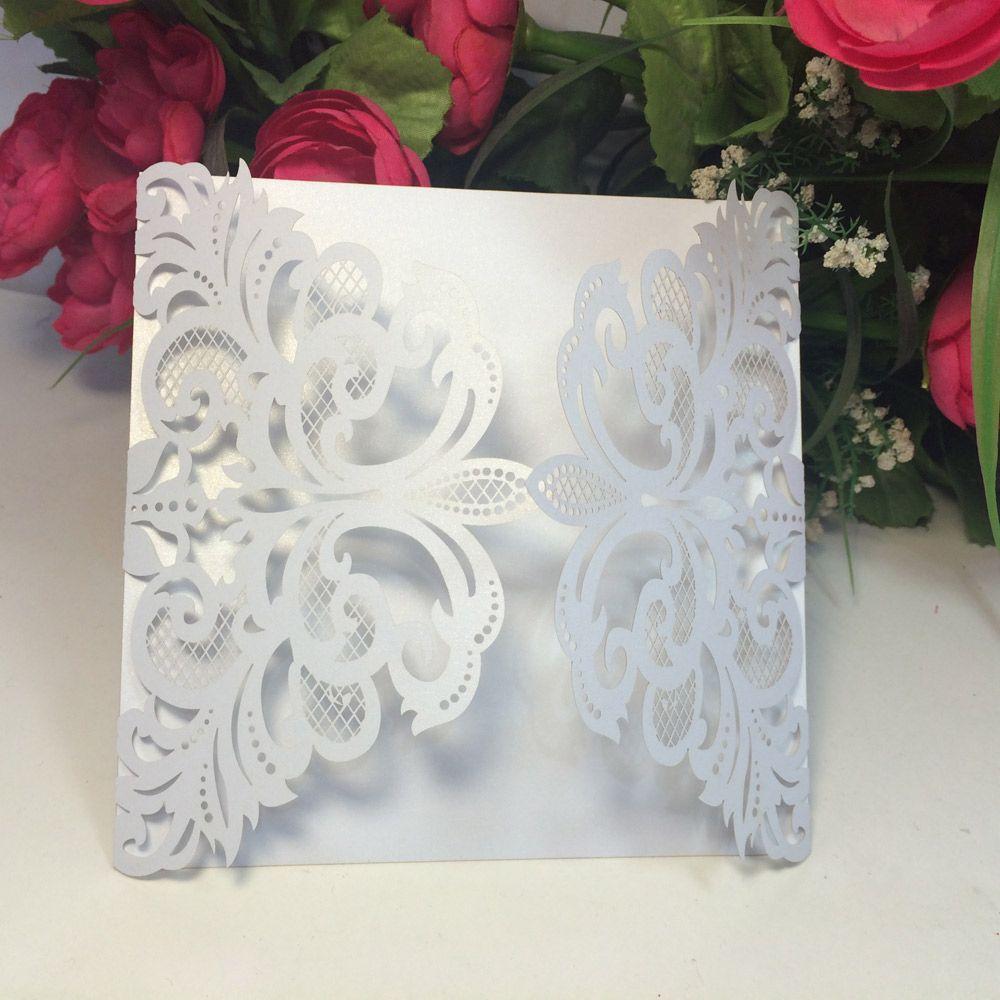 20pcs Festa di nozze Party Invitation Card Romantico Carte decorative Busta Busta delicata Pattern intagliato Inviti di nozze Fornitura del partito