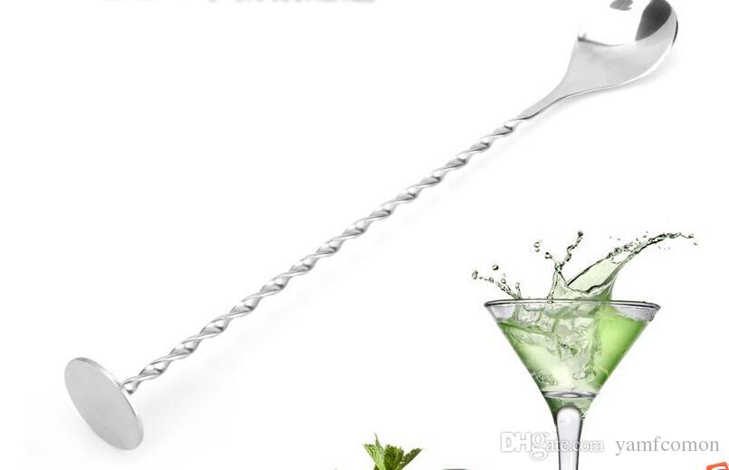 500 pcs 304 Stainless Steel Bar Spoon 27.5cm Swizzle Stick Stirrer Bar Mixing Spoon Cocktail Drink Sticking Tools