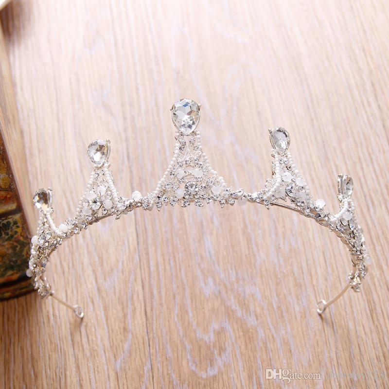 In Stock Bridal crown Rhinestone Crystal Wedding Party Prom Homecoming Crowns Band Princess Bridal Tiaras Hair Accessories Fashion Pearl