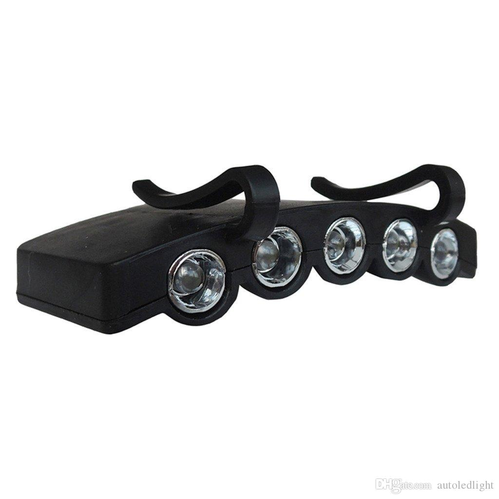 Durable 5 LED Cap Hat Brim Clip White Light Camping Fishing Black Headlamp Tool led headlight cap