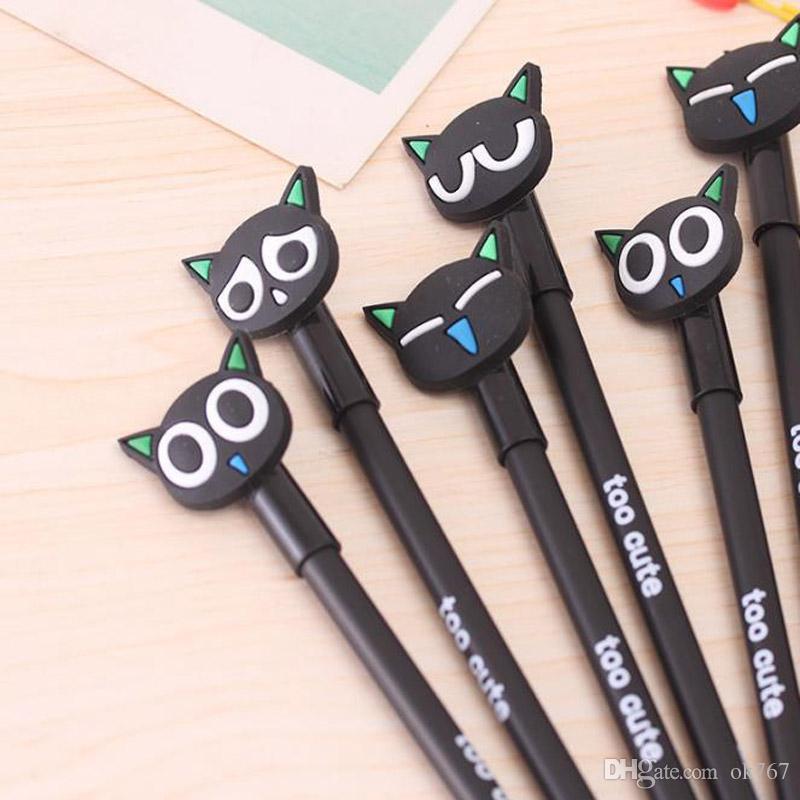 Wholesale-4pcs / lot kawaii stylo matériau Escolar Papelaria chat gel stylo de papeterie mignonne papeterie bureau de bureau de bureau caneta gen stylos pour écrire