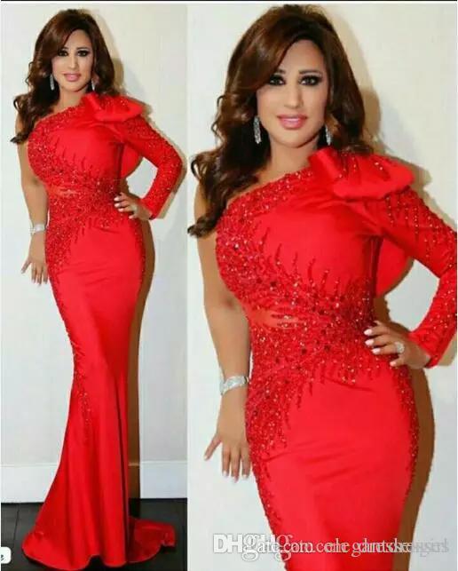 Elegante rote arabische Abendkleider Kleider 2021 Eine Schulter mit langen Ärmeln Perlen Mermaid Formale Prom Party Kleider mit Bogen