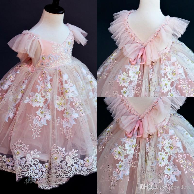Blush Pink Flower Girls 'Abiti per matrimoni Pizzo Appliques Abiti Bead Tulle Ball Gown Ragazze Pageant Dress di alta qualità
