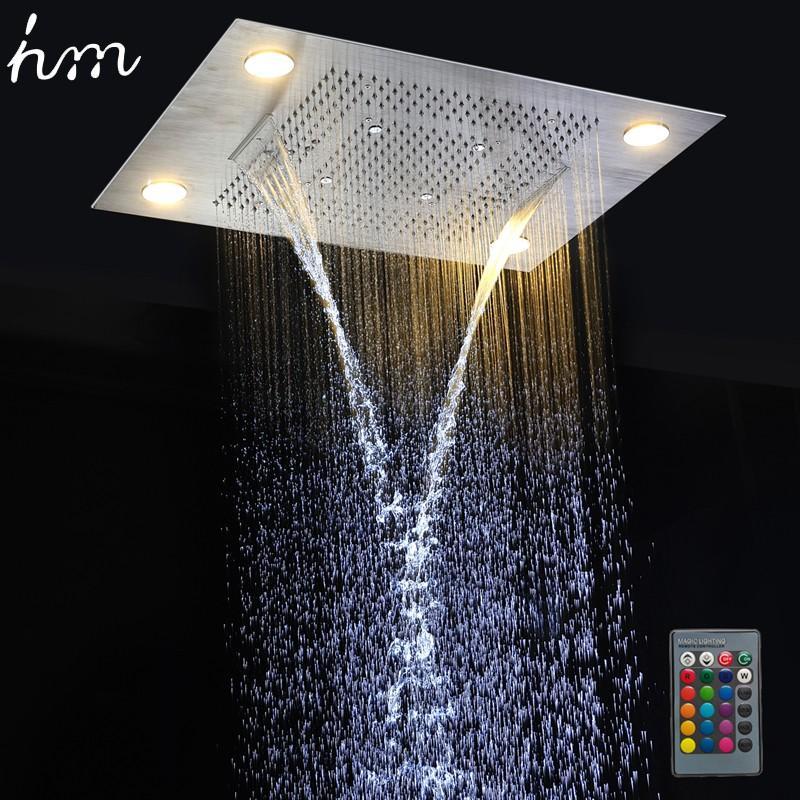 hm multi function led light shower head 600800mm ceiling rain shower remote control led rainfall waterfall