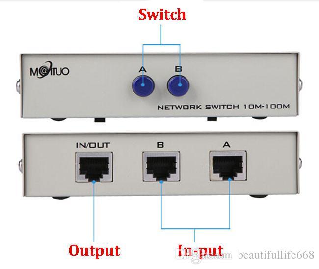 2 Port Ağ Anahtarı manuel paylaşım RJ45 RJ-45 Ethernet Ağ Kutusu Switcher Uygulamalar 100MHz 2 in 1 out