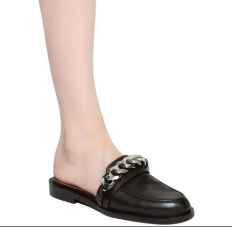 coupe classique Prix 50% doux et léger Acheter Vente! U718 34 Noir En Cuir Véritable Chaîne Slide Chaussures  Plates Sandales Mules Chaussures Gi De $74.0 Du Fashionville | DHgate.Com