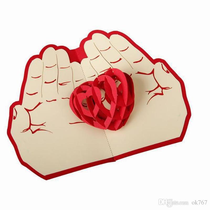 10 pçs / lote Convites de Festa de Casamento de Corte A Laser Amor em Sua Mão 3D Cartão do Dia Dos Namorados Cúbico