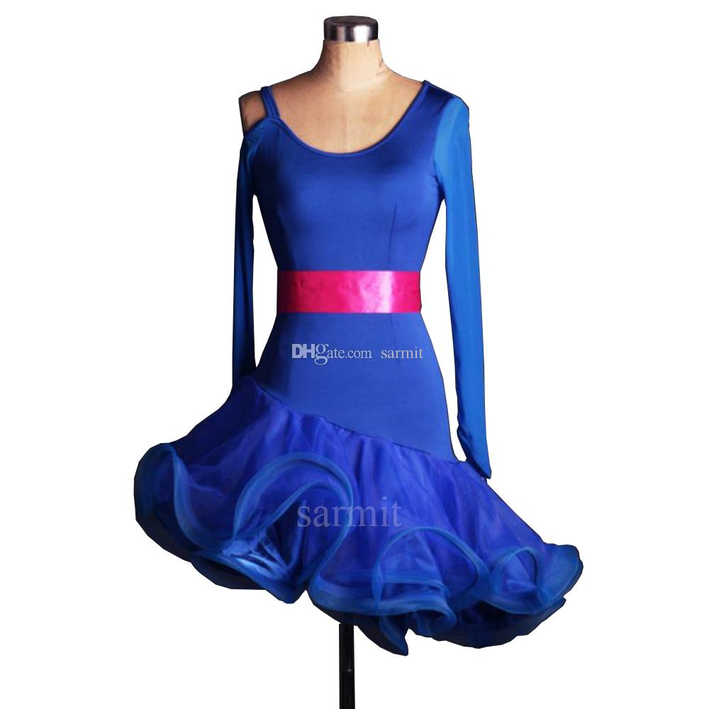 Latin Dance Dress Women Girls Latin Salsa Dance Competition Abiti Samba Dance Costumes D0088 Fluffy Sheer Hem Brief Style