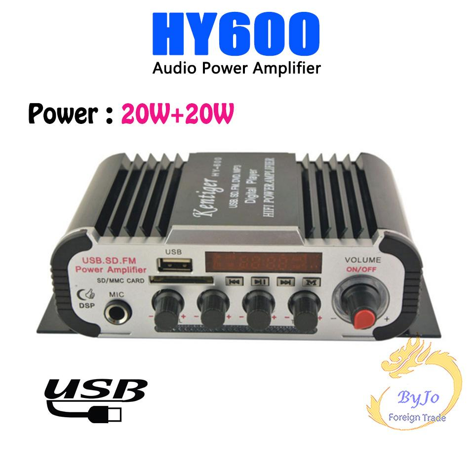 HY600 البسيطة مكبر للصوت سيارة مكبر للصوت 20 واط + 20 واط fm mic mp3 المتكلم ستيريو مكبر للصوت لدراجة نارية سيارة المنزل استخدام