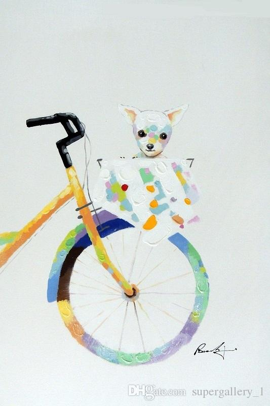 Framed Puppy Dog Chihuahua Bicycle Basket Handpainted Modern Pop Animal Art oil Painting On Canvas Museum Quality Multi size J044