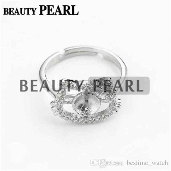 Bulk of 3 Pieces Cute Cat Ring Blanks 925 Sterling Silver Zircon Jewellery Pearl Party Gift