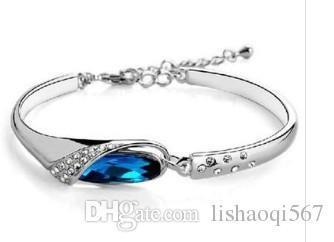 старый серебряный инкрустация синий Кристалл женский браслет xgspc)
