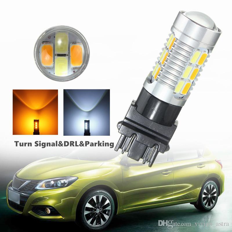 2pcs 3,1W caliente T25 3157 22SMD 5630 del coche LED de color dual de alta potencia Ámbar / lente de la conmutación blanco con lente señal de vuelta de la lámpara DRL Aparcamiento Bulbos