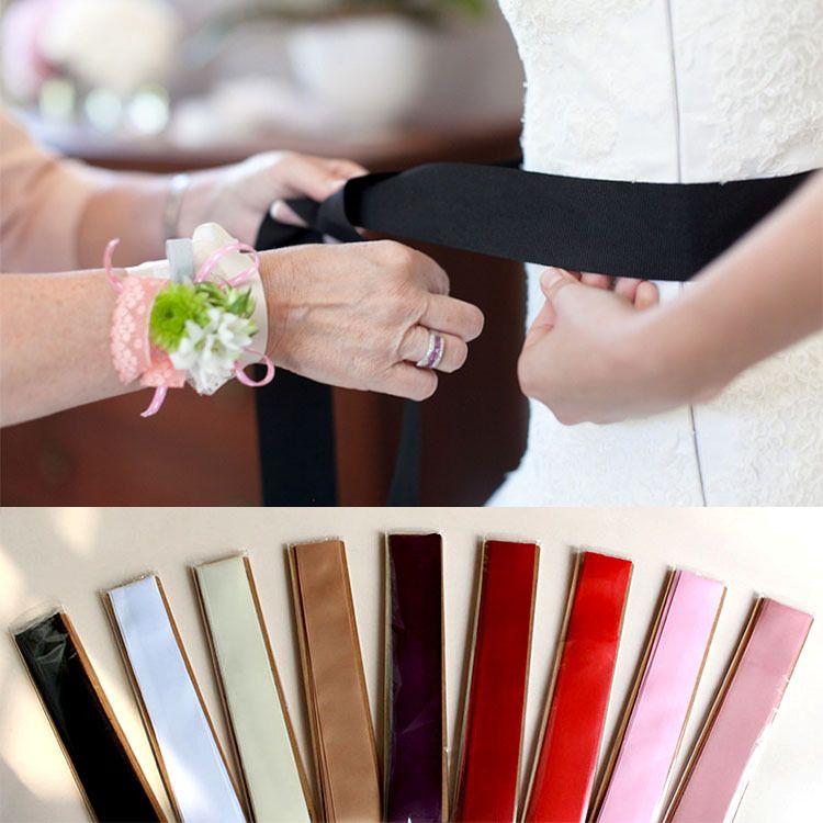2019 Cintos de Noiva Cintos Para Vestidos De Casamento DIY Bow Fita 270 cm Super Longa Noite de Baile Princesa Borgonha Branco Vermelho Preto Blush Rosa Marfim