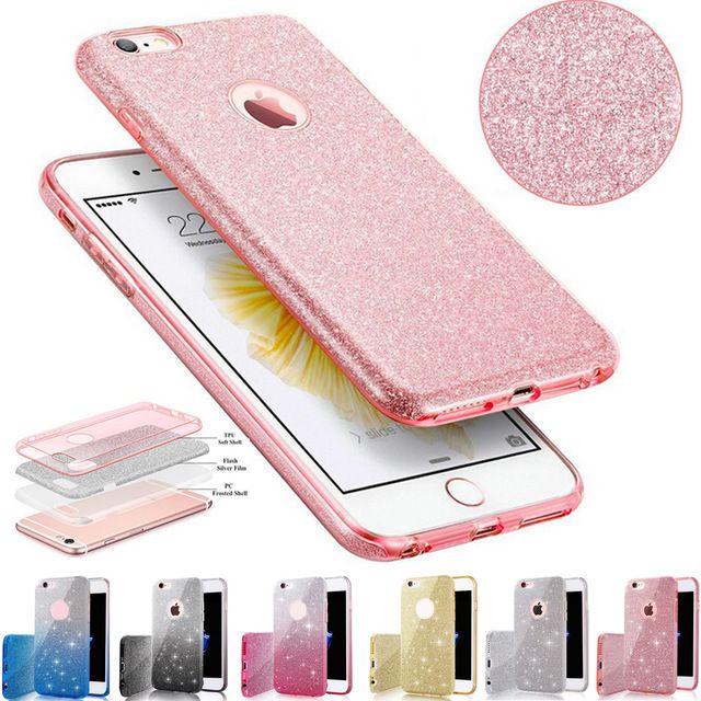 Para iphone 7 tpu case limpar cristal bling brilhando meninas mulheres faísca 3 camada casos de telefone cobre para iphone 6 s 7 plus