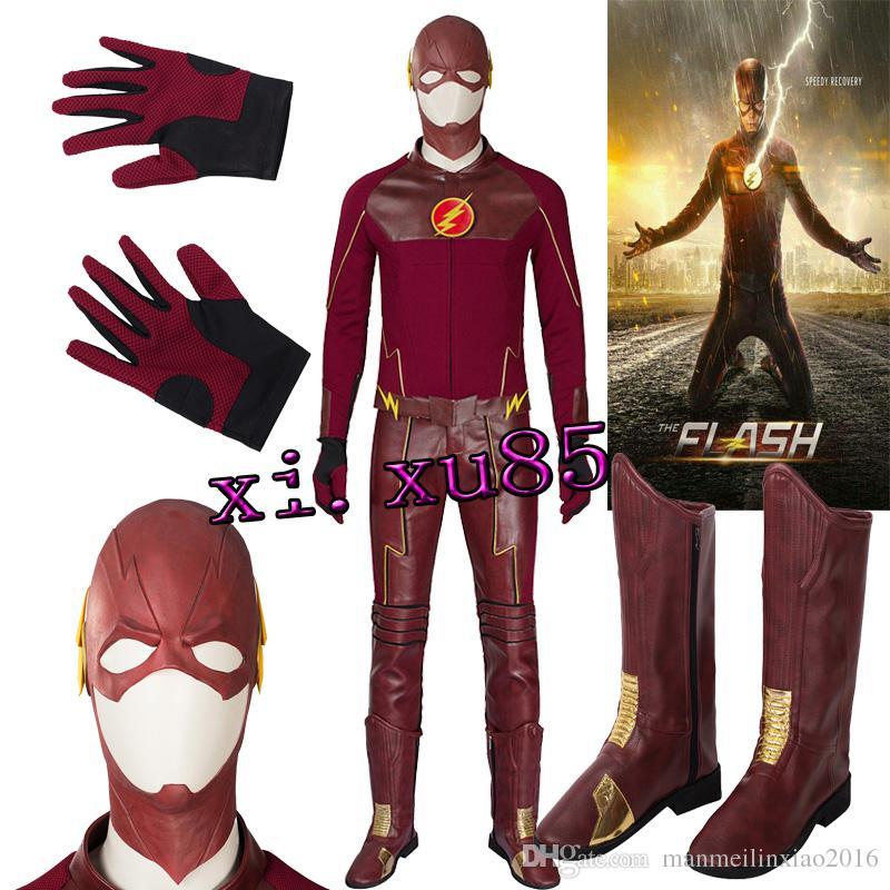 The Flash Season I Barry Allen Cosplay Kostüm Halloween Costume Maske Schuhe