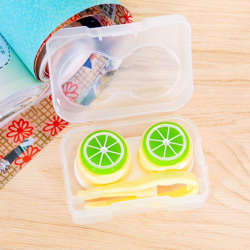12Pcs/lot Fruit Pattern Cartoon Cute Contact Lenses Case Plastic Contacts Lens Box Travel Makeup Beauty Tools Accessories