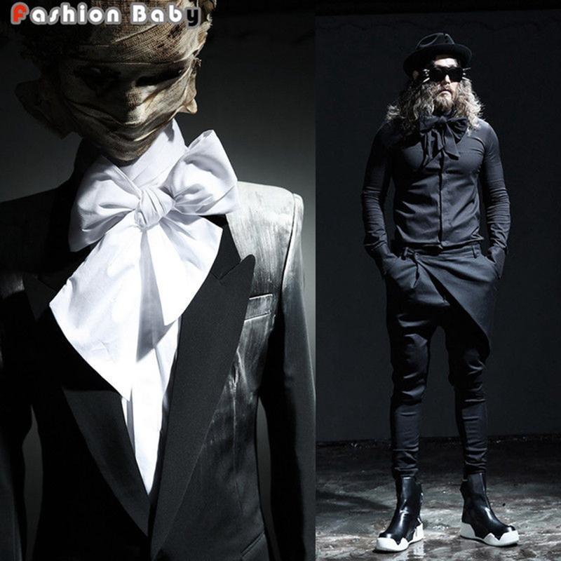 All'ingrosso- 2016 New Sweet Darksiders Camicie da uomo in cotone con Big Bow tie fai da te Colore solido Nero Bianco Brand Designer Top Tees