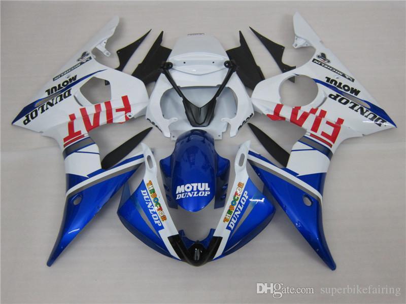 3 kits de regalo carenado de la motocicleta Nueva caliente ABS 100% en forma para el 2005 YAMAHA YZF R6 2005 YZFR6 YZFR6 YZFR6 2005 Azul Blanco