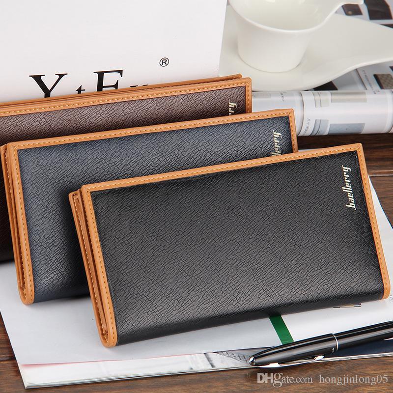 Großhandelspreis einfarbig streifen business men brieftaschen aus weichem leder lange stil freizeit gelb rand kreditkarteninhaber geldbörse