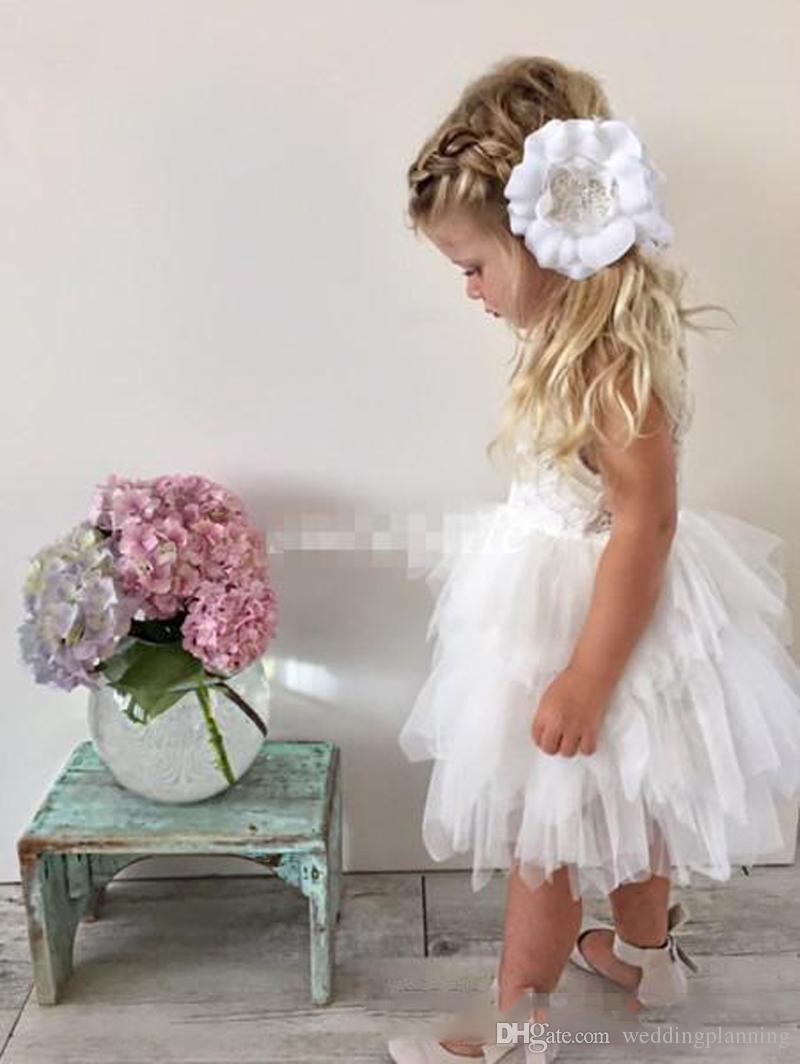 5560285fa7c8 Tutu White Boho Flower Girl Dresses For Wedding Toddler Infant Baby Ruffles  Jewel Neck Cheap Little Child Guest Party Dress Lace Tulle Big Girl Dresses  ...