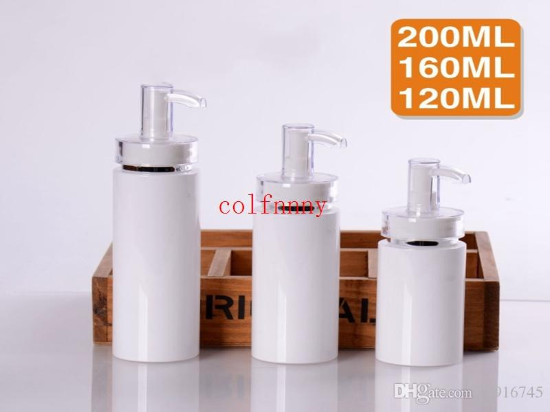 Hot sale 50 pcs/lot 120/160/200ML white press pump for serum/lotion/emulsion/ foundation/gel/essence packing glass bottle