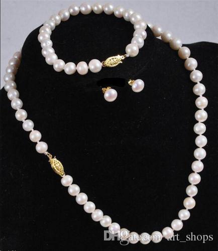Gros 7-8MM Blanc Akoya Collier De Perles De Culture Bracelet Boucles D'Oreilles Set 18 ''