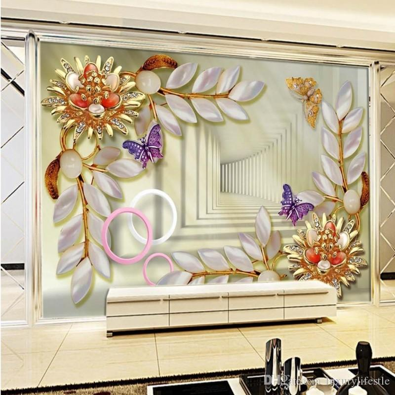 Custom 3D Jewel Embossed Flowers Wallpaper Background Wall Stereo Living  Room Wallpaper High Quality Mural Part 37
