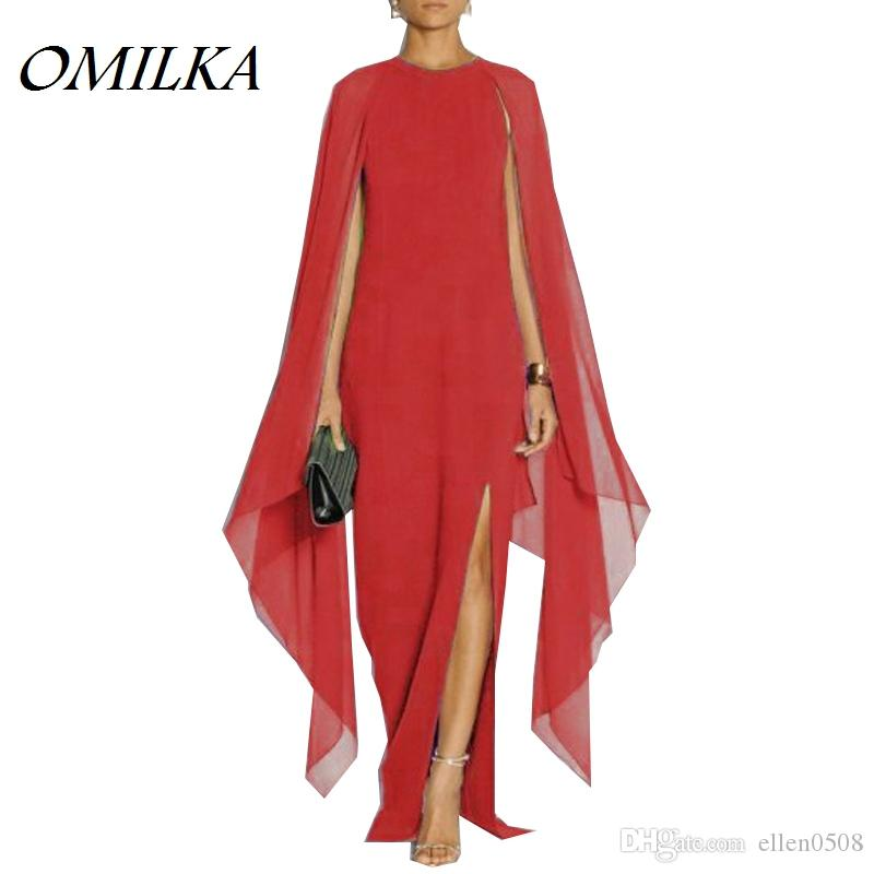 Omilka 2017 outono mulheres batwing manga dividida chiffon longo maxi dress sexy preto vermelho azul roxo runway capa vestidos femininos