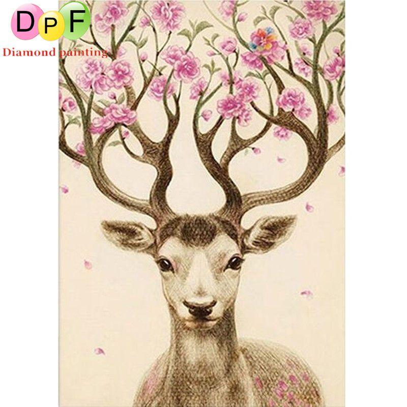 DPF 5D DIY square Diamond Painting Diamond mosaic Cross Stitch Beautiful Deer Animal Needlework Home Decoration painting